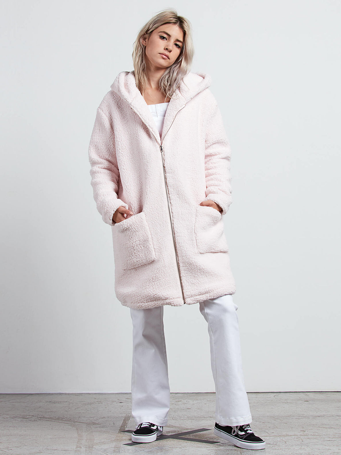 Gmj Sherpa Coat In Light Peony, Front View