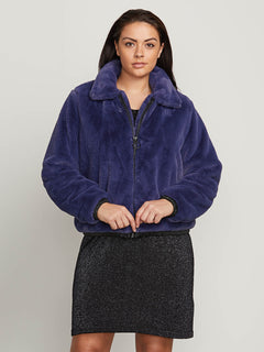 Fuzzy Fresh Jacket In Sea Navy, Front Extended Size View