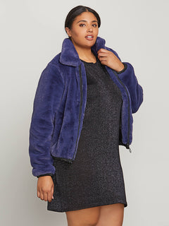 Fuzzy Fresh Jacket In Sea Navy, Front Plus Size View