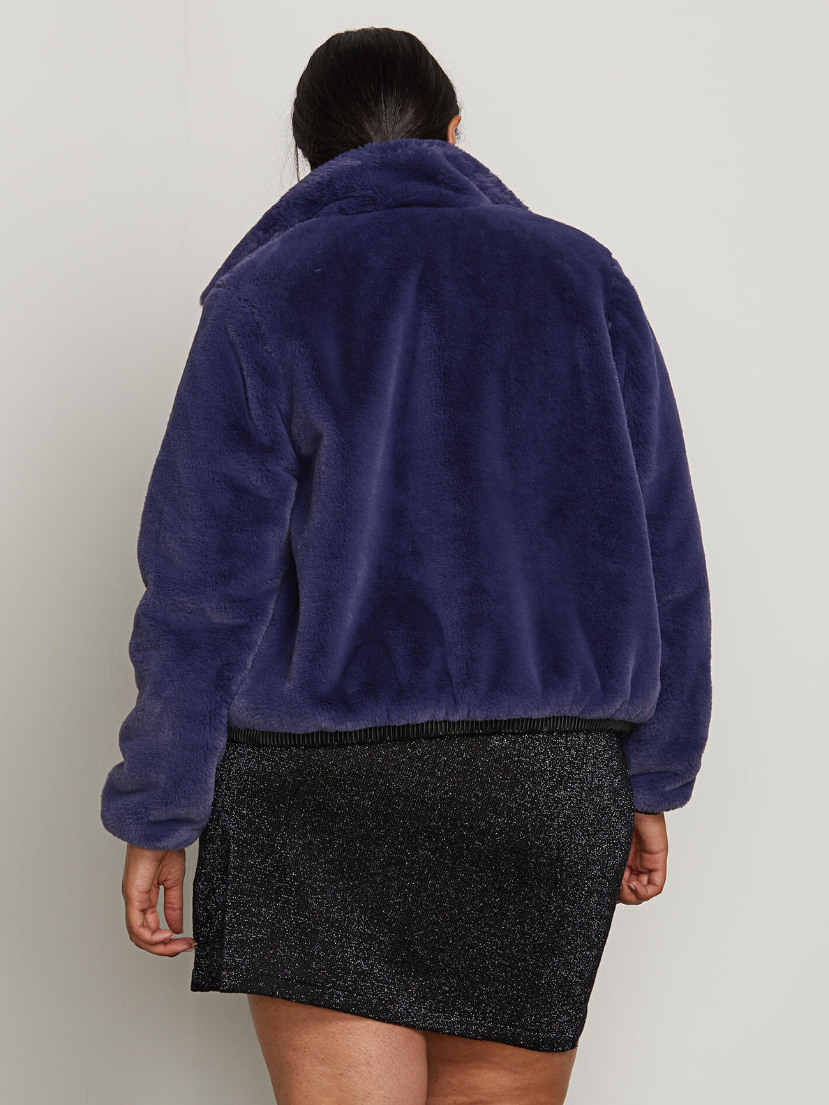 Fuzzy Fresh Jacket In Sea Navy, Back Plus Size View