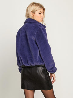 Fuzzy Fresh Jacket In Sea Navy, Back View