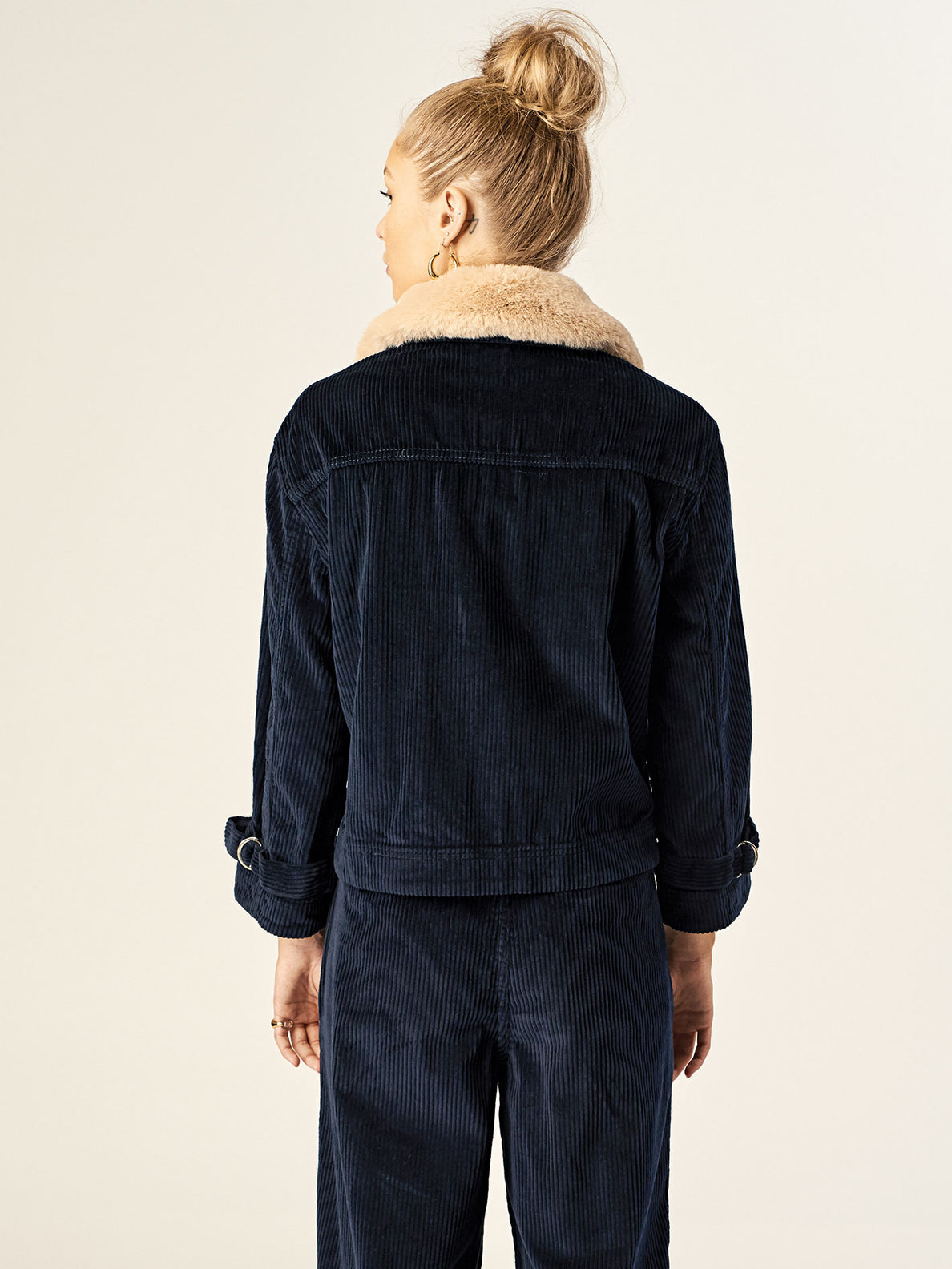 Cut The Cord Jacket In Sea Navy, Back View