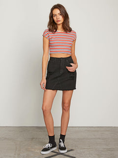 Stoned Mini Skirt In Black, Front View