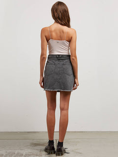 Stoned Mini Skirt In Smoke, Back View