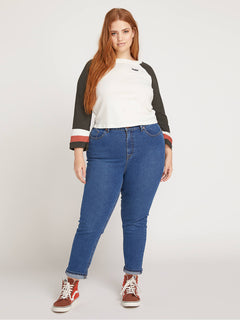 Vol Stone Jeans In Harbor Blue, Front Plus Size View
