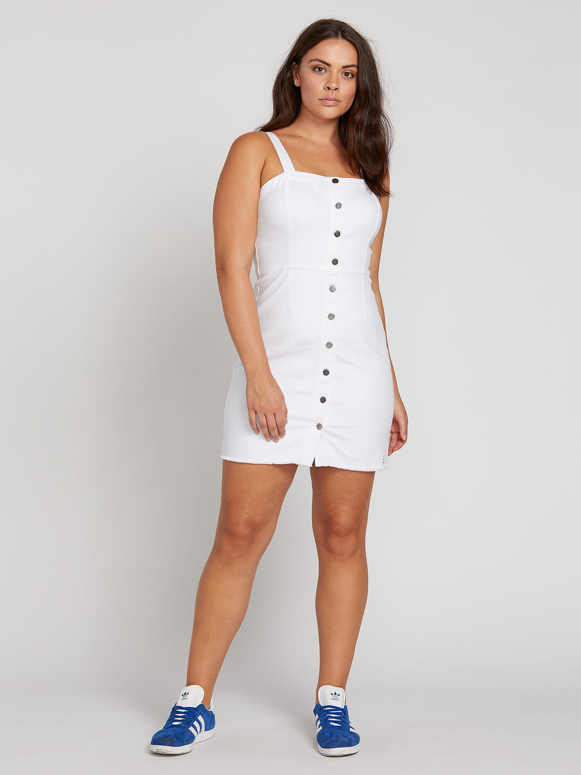 Vol Stone Dress In Paint White, Front Extended Size View