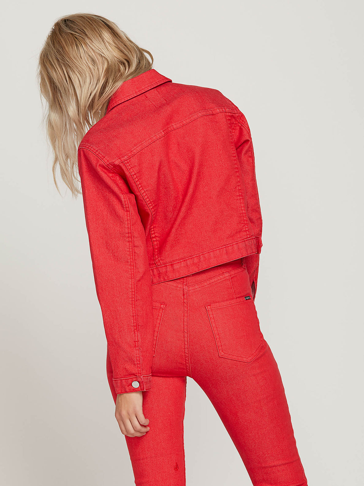 Gmj Shrunken Jacket In Red, Back View