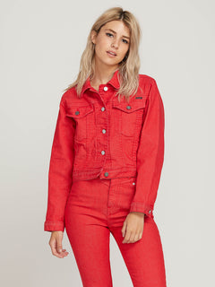 Gmj Shrunken Jacket In Red, Front View