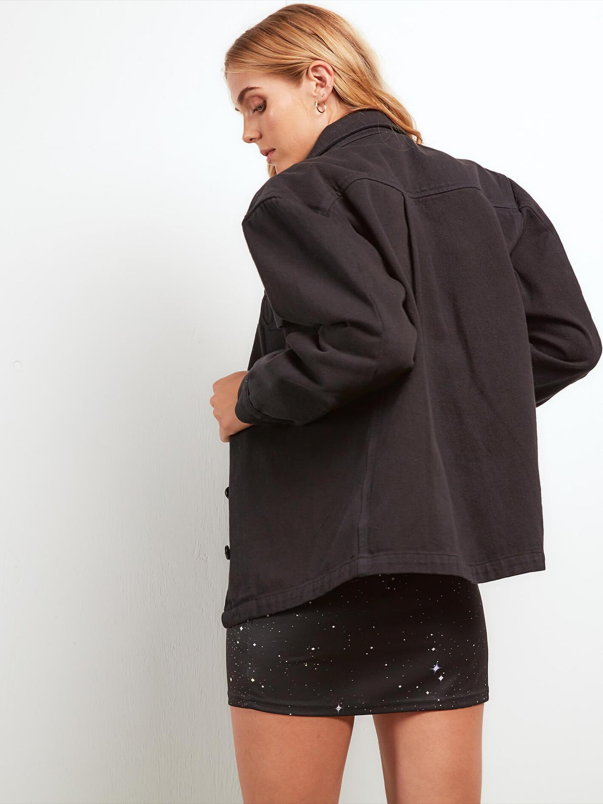 Cosmic Drift Jacket In Black, Back View