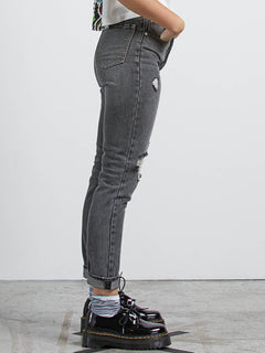 Super Stoned Skinny Jeans In Black Destructo, Alternate View