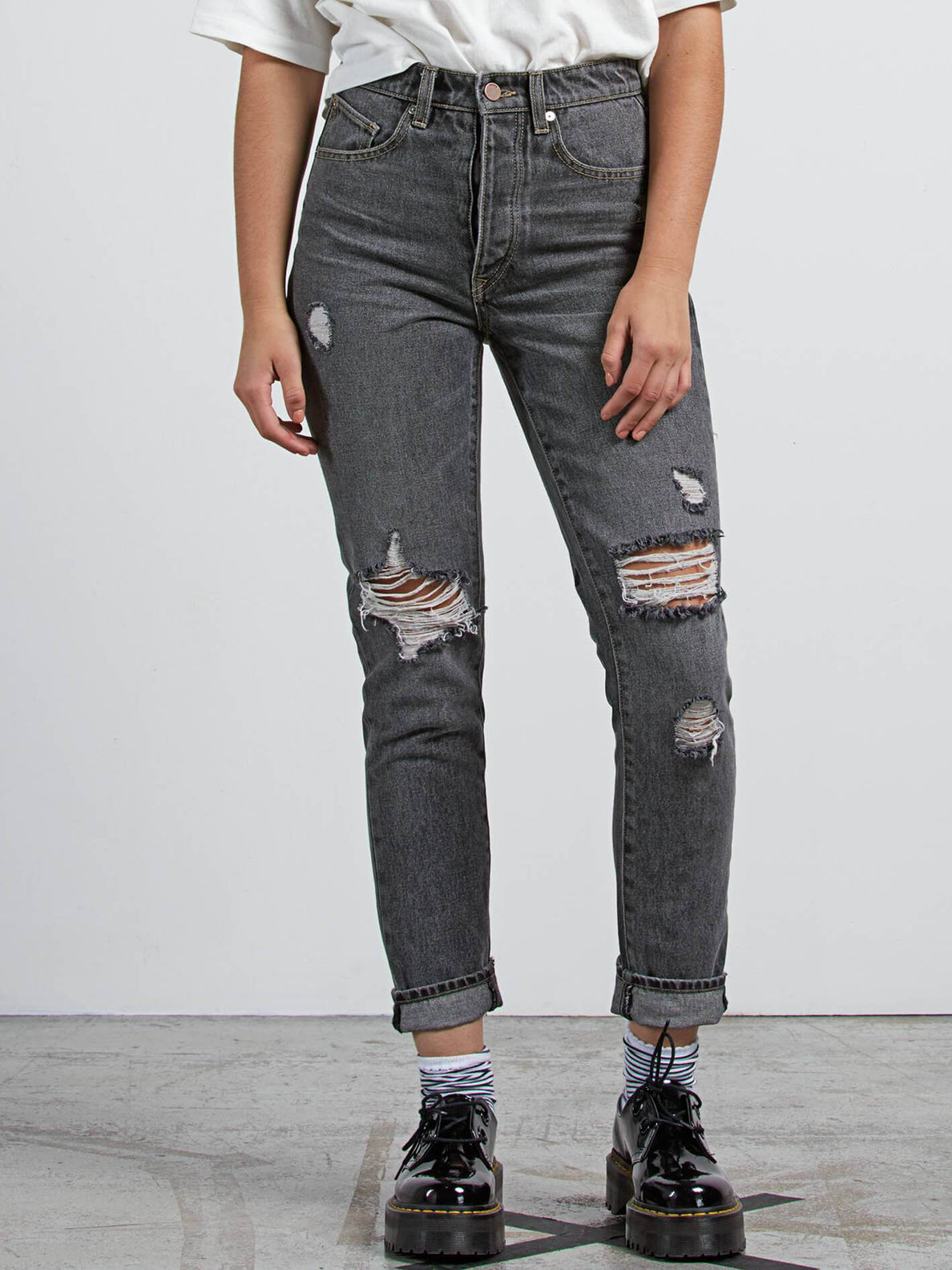 Super Stoned Skinny Jeans In Black Destructo, Front View
