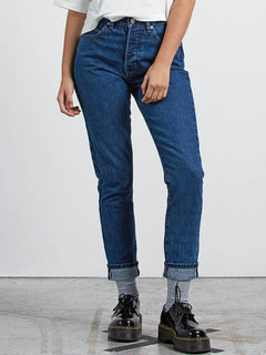 Super Stoned Skinny Jeans In Used Blue, Front View