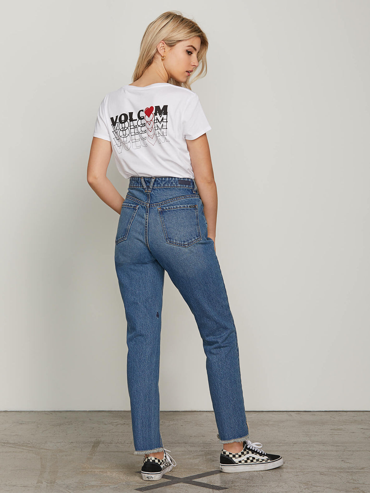 Super Stoned Skinny Jeans In Vintage Blue, Back View