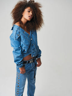 Gmj Jean Jacket In Light Blue, Alternate View