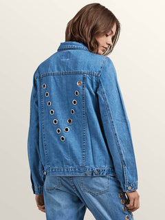 Gmj Jean Jacket In Light Blue, Back View