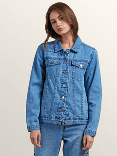 Gmj Jean Jacket In Light Blue, Front View