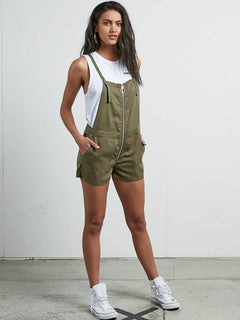Vol Plus Romper In Dark Camo, Front View