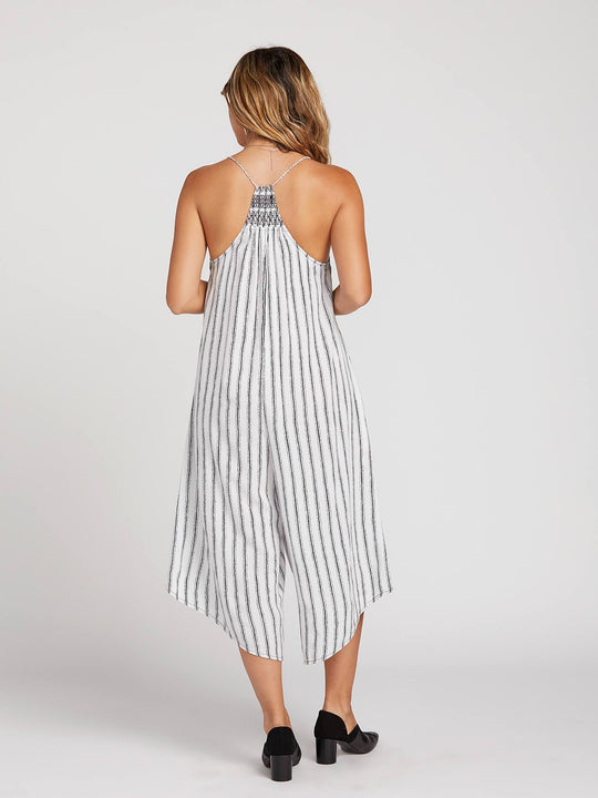 High Water Romper In White, Back View