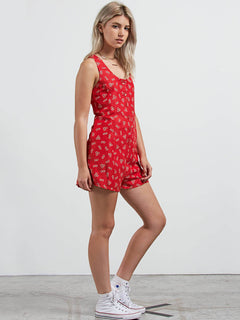 Back N The Daisy Romper In Rad Red, Alternate View
