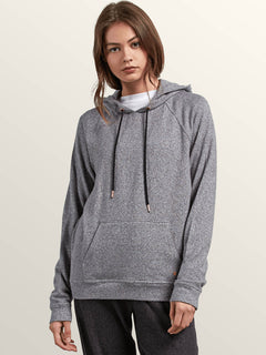 Lived In Lounge Pullover Hoodie In Charcoal Grey, Front View