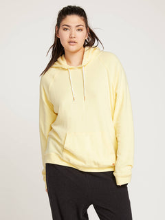 Lil Hoodie In Faded Lemon, Front Extended Size View