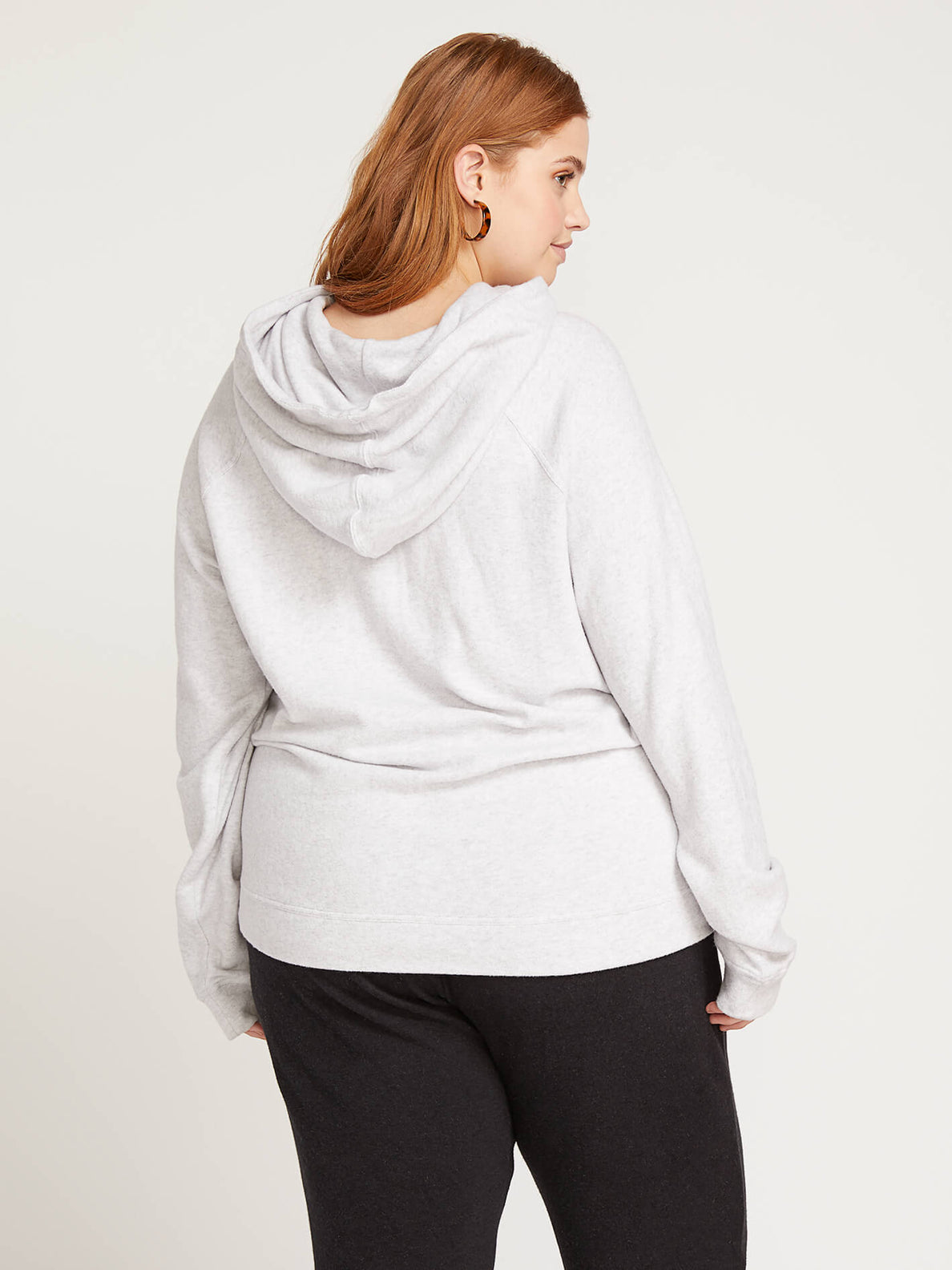 Lived In Lounge Pullover Hoodie In Light Grey, Back Plus Size View