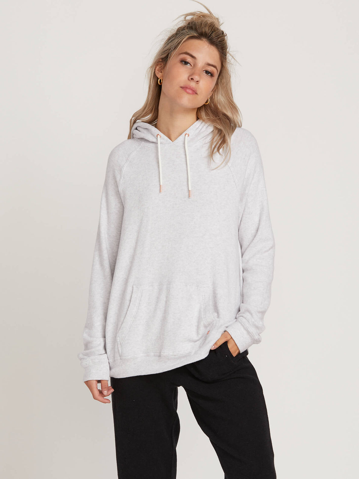 Lived In Lounge Pullover Hoodie In Light Grey, Front View
