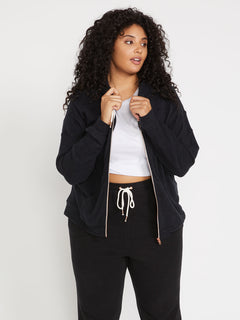 Lived In Lounge Zip Fleece Plus Size - Black (B3111802P_BLK) [1]