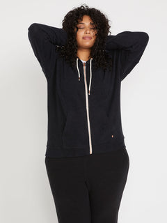 Lived In Lounge Zip Fleece Plus Size - Black (B3111802P_BLK) [F]