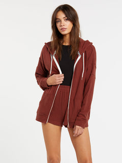 Lived In Lounge Zip Fleece - Brick (B3111802_BRK) [1]