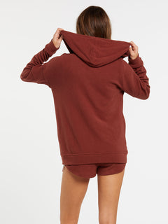 Lived In Lounge Zip Fleece - Brick (B3111802_BRK) [B]