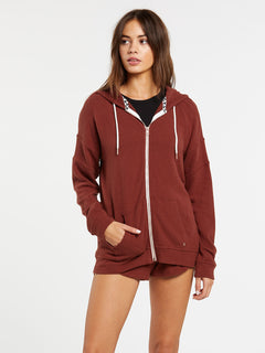 Lived In Lounge Zip Fleece - Brick (B3111802_BRK) [F]