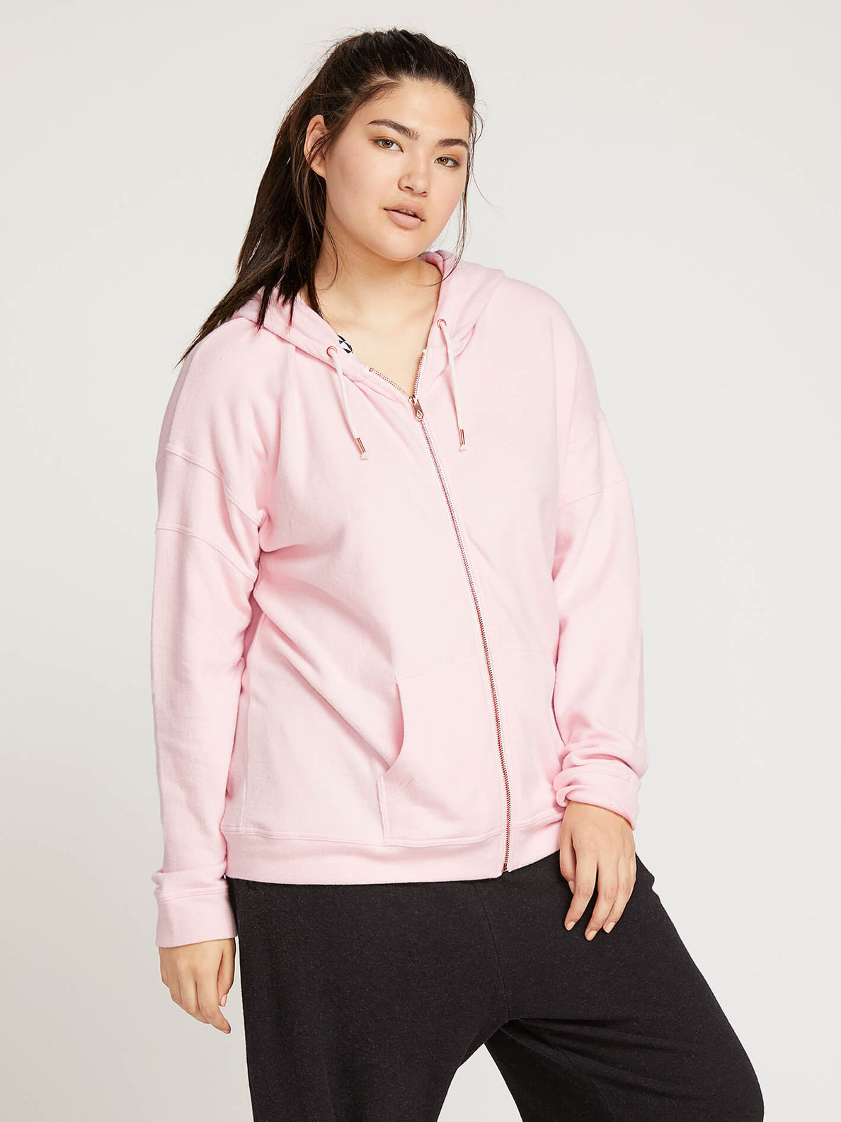 Lived In Lounge Zip Hoodie In Blush Pink, Front Extended Size View