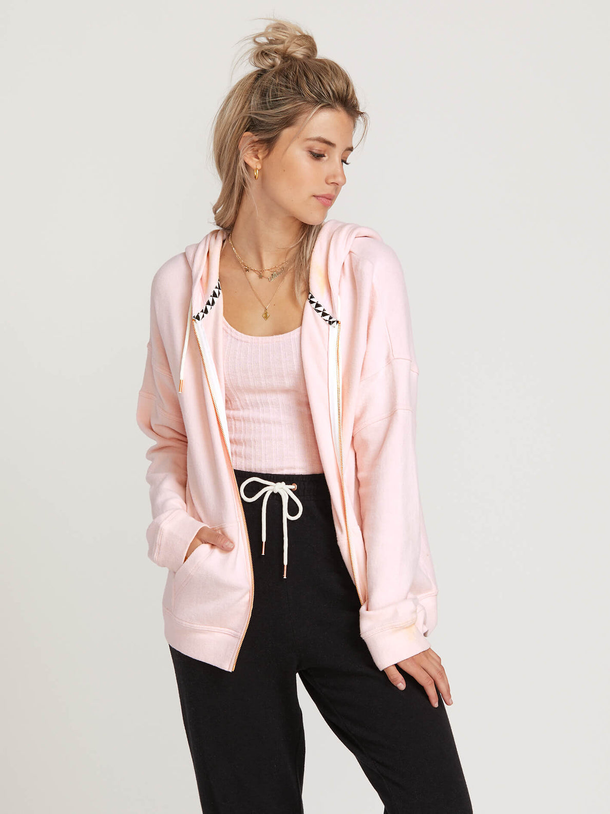 Lived In Lounge Zip Hoodie In Blush Pink, Second Alternate View