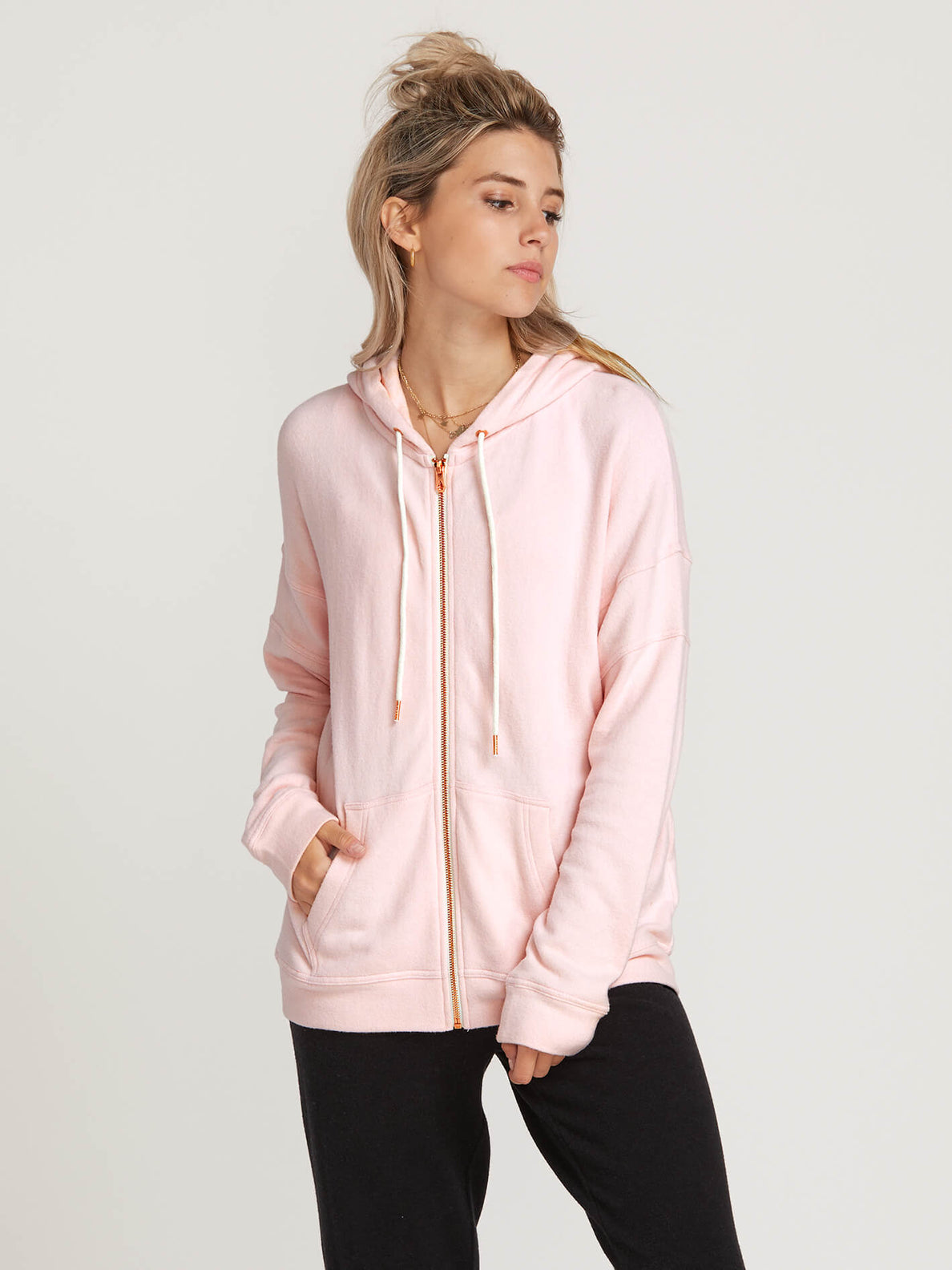 Lived In Lounge Zip Hoodie In Blush Pink, Front View