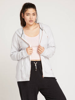 Lived In Lounge Zip Hoodie In Light Grey, Front Extended Size View
