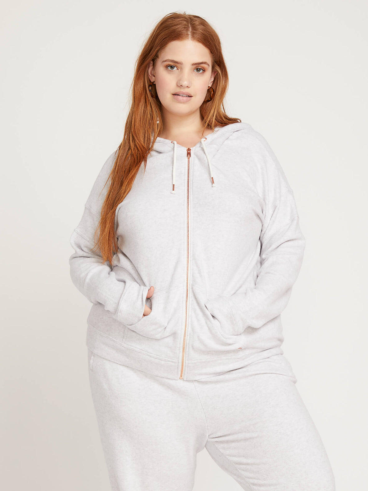 Lived In Lounge Zip Hoodie In Light Grey, Front Plus Size View