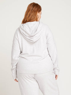 Lived In Lounge Zip Hoodie In Light Grey, Back Plus Size View