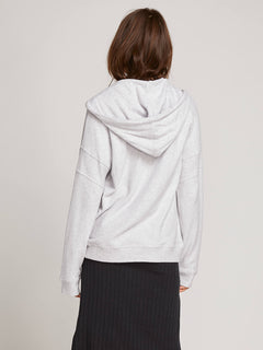 Lived In Lounge Zip Hoodie In Light Grey, Back View