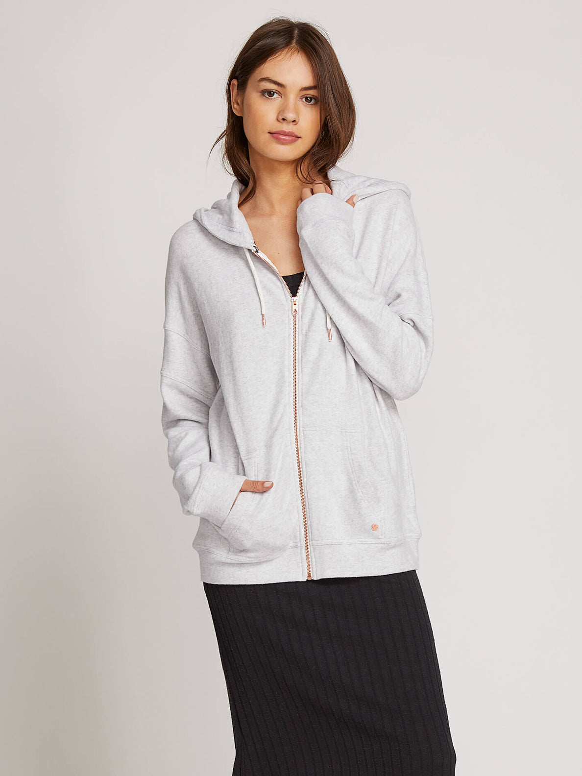 Lived In Lounge Zip Hoodie In Light Grey, Front View