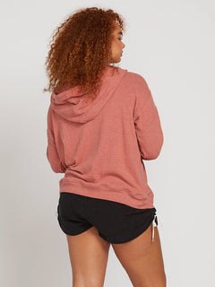 Lived In Lounge Zip Hoodie In Mauve, Back Plus Size View