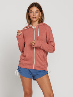 Lived In Lounge Zip Hoodie In Mauve, Front View