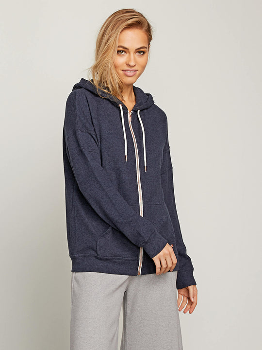 Lived In Lounge Zip Hoodie In Sea Navy, Front View