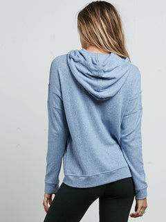 Lil Zip Hoodie In Washed Blue, Back View
