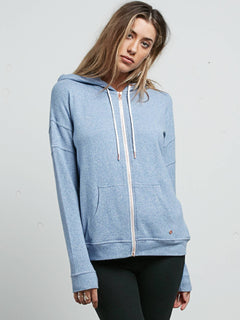 Lil Zip Hoodie In Washed Blue, Front View