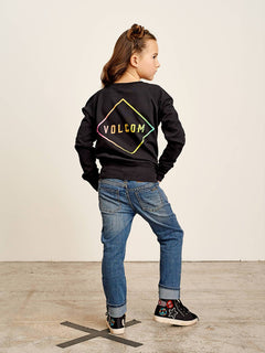 Big Girls Prismatized Crew Sweatshirt In Black, Back View