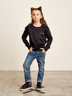 Big Girls Prismatized Crew Sweatshirt In Black, Front View