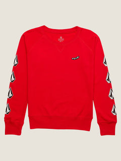 Big Girls Prismatized Crew Sweatshirt In Rad Red, Alternate View