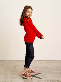 Big Girls Prismatized Crew Sweatshirt In Rad Red, Back View