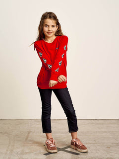Big Girls Prismatized Crew Sweatshirt In Rad Red, Front View